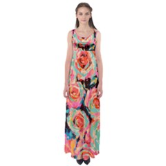 Painted Pastel Roses Empire Waist Maxi Dress