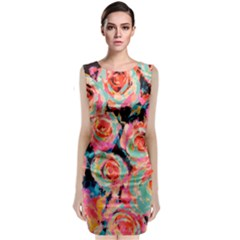 Painted Pastel Roses Classic Sleeveless Midi Dress