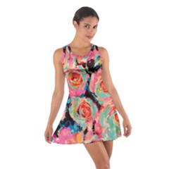 Pastel Painted Roses Cotton Racerback Dress