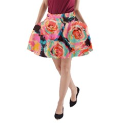 Pastel Painted Roses A-Line Pocket Skirt