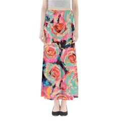 Pastel Painted Roses Women s Maxi Skirt