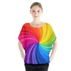 Rainbow Glassy Swirl Batwing Blouse Batwing Chiffon Blouse
