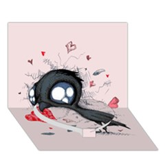 Baby Crow  Heart Bottom 3D Greeting Card (7x5)
