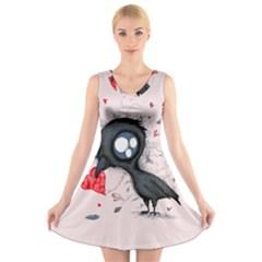 Baby Crow  V Neck Sleeveless Skater Dress