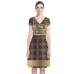 Assyrian Gold Wingedbull Dress 1 Short Sleeve Front Wrap Dress
