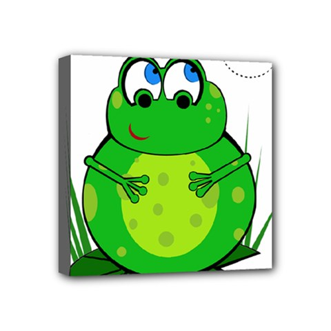 Green Frog Mini Canvas 4  X 4