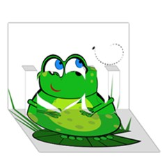 Green Frog I Love You 3D Greeting Card (7x5)