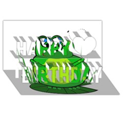Green Frog Happy Birthday 3D Greeting Card (8x4)