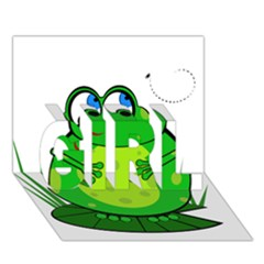 Green Frog Girl 3d Greeting Card (7x5)