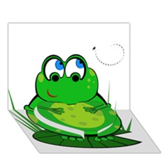 Green Frog Heart Bottom 3D Greeting Card (7x5)