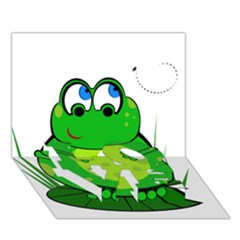 Green Frog LOVE Bottom 3D Greeting Card (7x5)