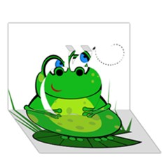 Green Frog Apple 3D Greeting Card (7x5)