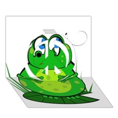 Green Frog Peace Sign 3d Greeting Card (7x5)