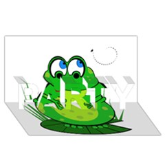 Green Frog PARTY 3D Greeting Card (8x4)