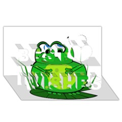 Green Frog Best Wish 3d Greeting Card (8x4)