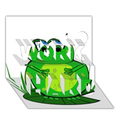 Green Frog WORK HARD 3D Greeting Card (7x5)