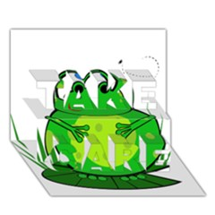 Green Frog TAKE CARE 3D Greeting Card (7x5)