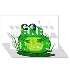 Green Frog Merry Xmas 3D Greeting Card (8x4)