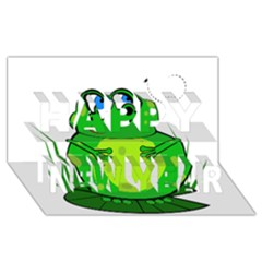 Green Frog Happy New Year 3D Greeting Card (8x4)