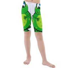 Green Frog Kid s Mid Length Swim Shorts