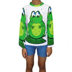 Green Frog Kid s Long Sleeve Swimwear
