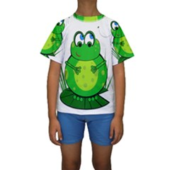Green Frog Kid s Short Sleeve Swimwear