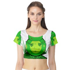 Green Frog Short Sleeve Crop Top (tight Fit)