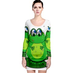 Green Frog Long Sleeve Bodycon Dress