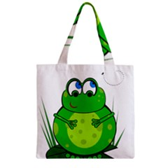 Green Frog Zipper Grocery Tote Bag