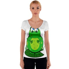Green Frog Women s V-Neck Cap Sleeve Top