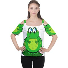 Green Frog Women s Cutout Shoulder Tee