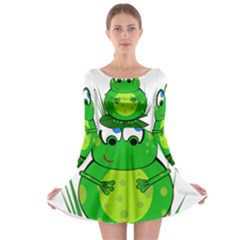 Green Frog Long Sleeve Skater Dress