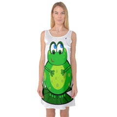 Green Frog Sleeveless Satin Nightdress