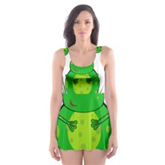 Green Frog Skater Dress Swimsuit