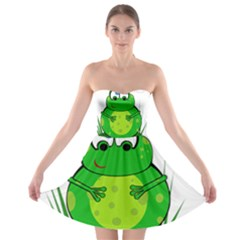 Green Frog Strapless Dresses