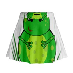 Green Frog Mini Flare Skirt