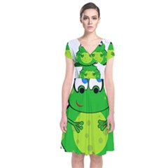 Green Frog Short Sleeve Front Wrap Dress
