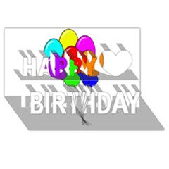 Colorful Balloons Happy Birthday 3D Greeting Card (8x4)
