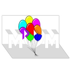 Colorful Balloons MOM 3D Greeting Card (8x4)