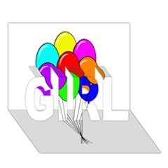 Colorful Balloons Girl 3d Greeting Card (7x5)