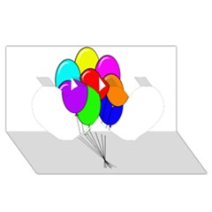 Colorful Balloons Twin Hearts 3D Greeting Card (8x4)