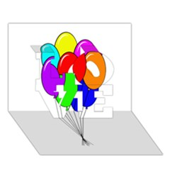 Colorful Balloons Love 3d Greeting Card (7x5)