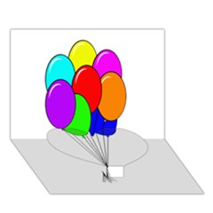 Colorful Balloons Heart Bottom 3D Greeting Card (7x5)