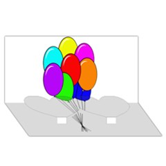 Colorful Balloons Twin Heart Bottom 3D Greeting Card (8x4)