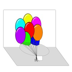 Colorful Balloons Circle Bottom 3d Greeting Card (7x5)