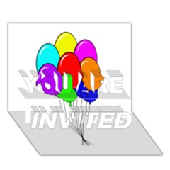 Colorful Balloons You Are Invited 3d Greeting Card (7x5)