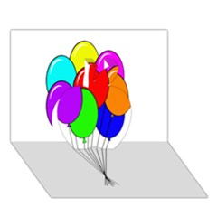Colorful Balloons Apple 3d Greeting Card (7x5)