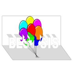 Colorful Balloons Best Sis 3d Greeting Card (8x4)