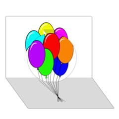 Colorful Balloons Circle 3d Greeting Card (7x5)