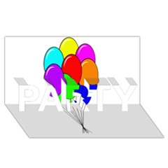 Colorful Balloons Party 3d Greeting Card (8x4)
